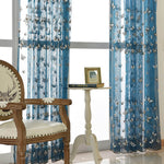 Blue Sheer Curtains White Butterfly Voile Drapes for Bedroom 1 Set of 2 Panels - Anady Top Space Design