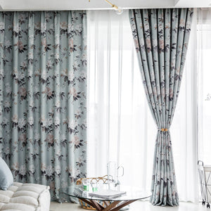 Anady Top Serenity Blue Curtains Flower Blackout Drapes 2Panels