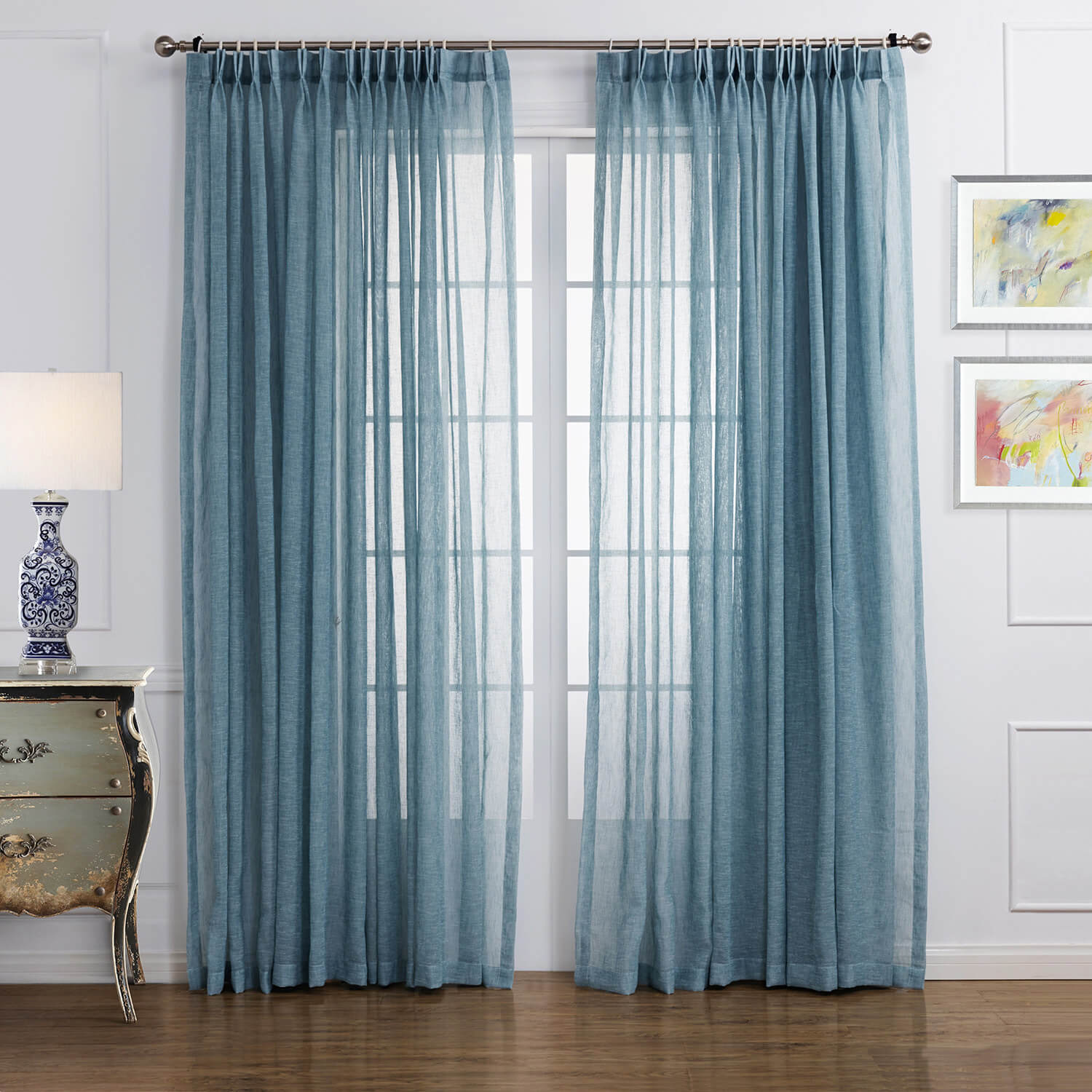 Blue Linen Sheer Curtains For Living Room 2 Panels Anady Top