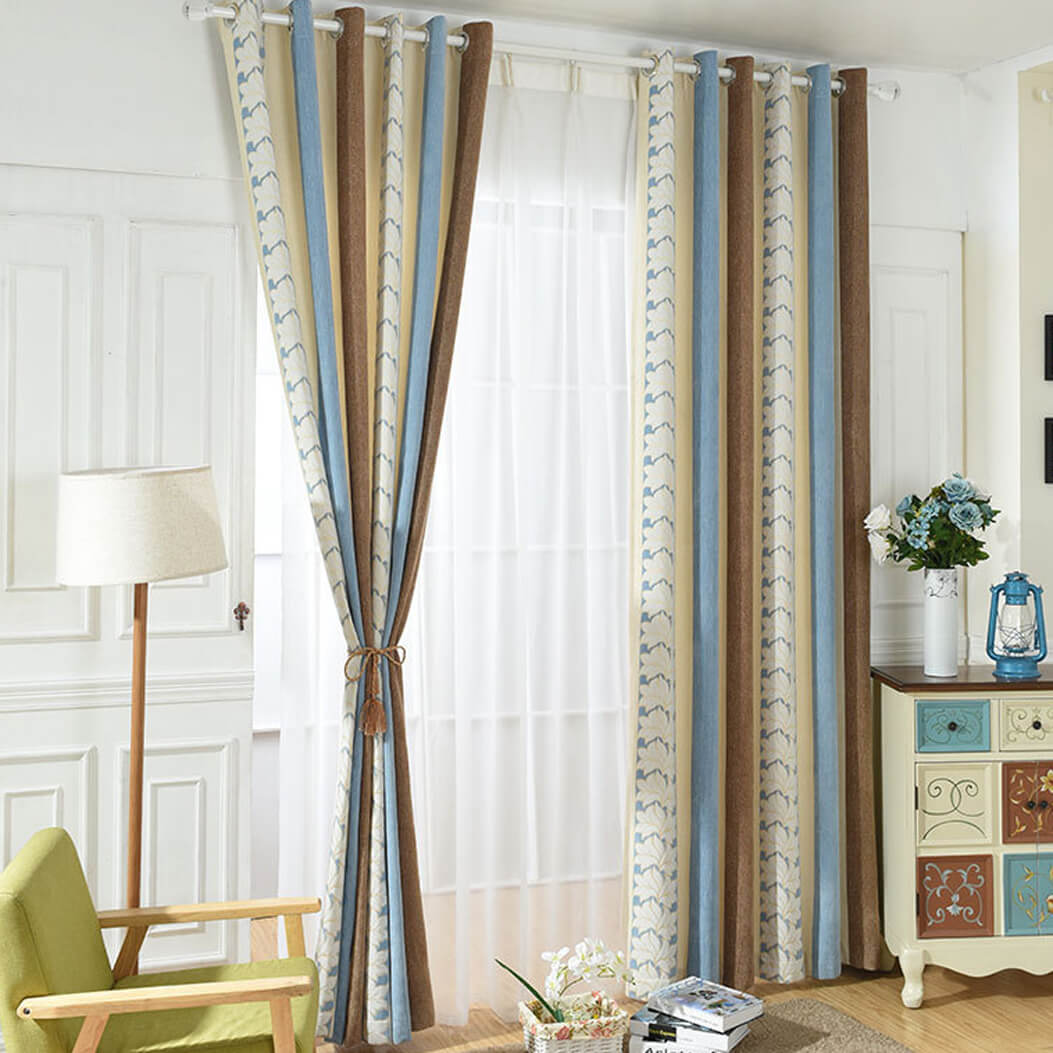 Blue/White Flower Curtains Grommet Top Chenille Striped Drapes for Bedroom Set of 2 Panels - Anady Top Space Design