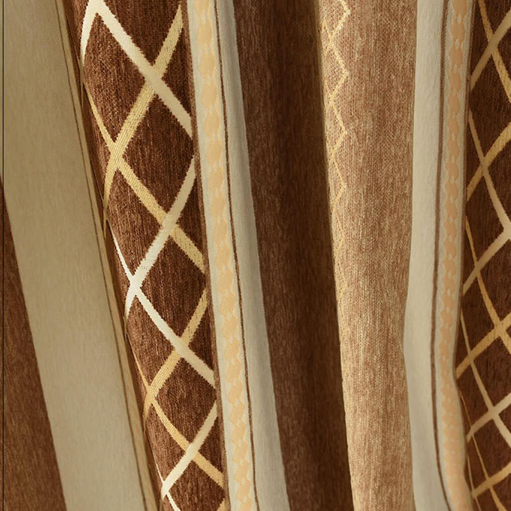 Brown chenille window curtains soundproof curtain panels custom drapes