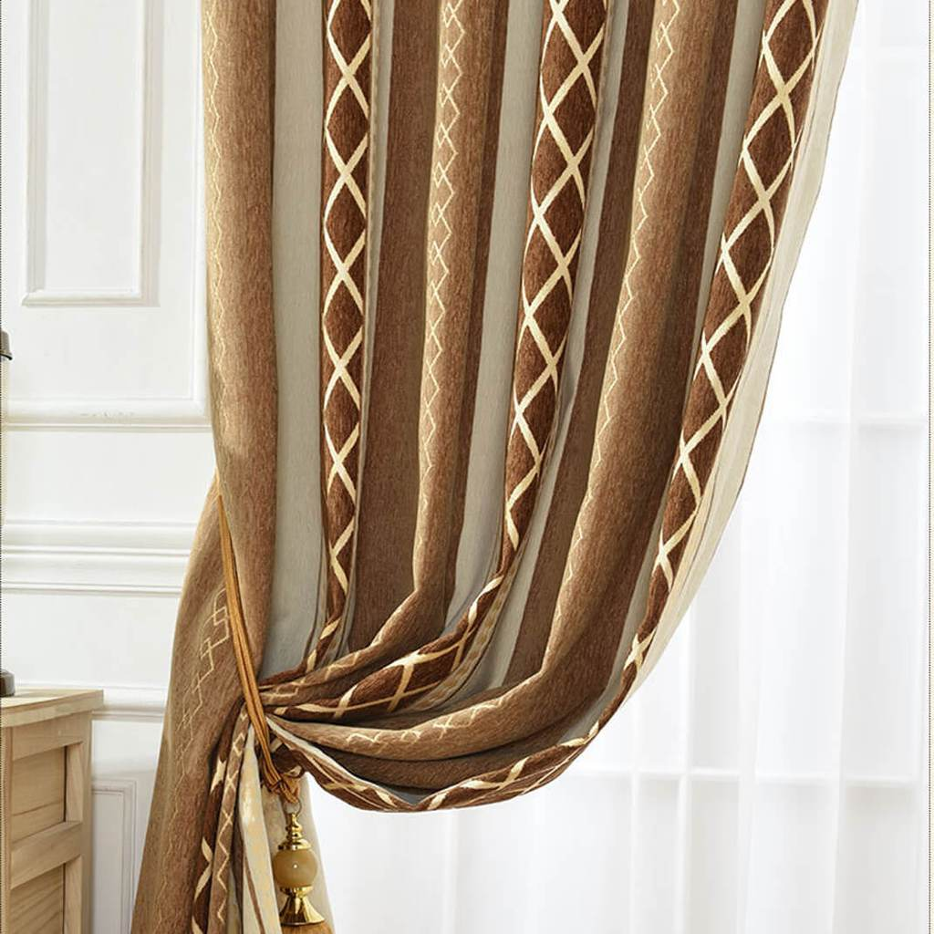 Brown room divider curtain tie up noise reducing curtains for sale