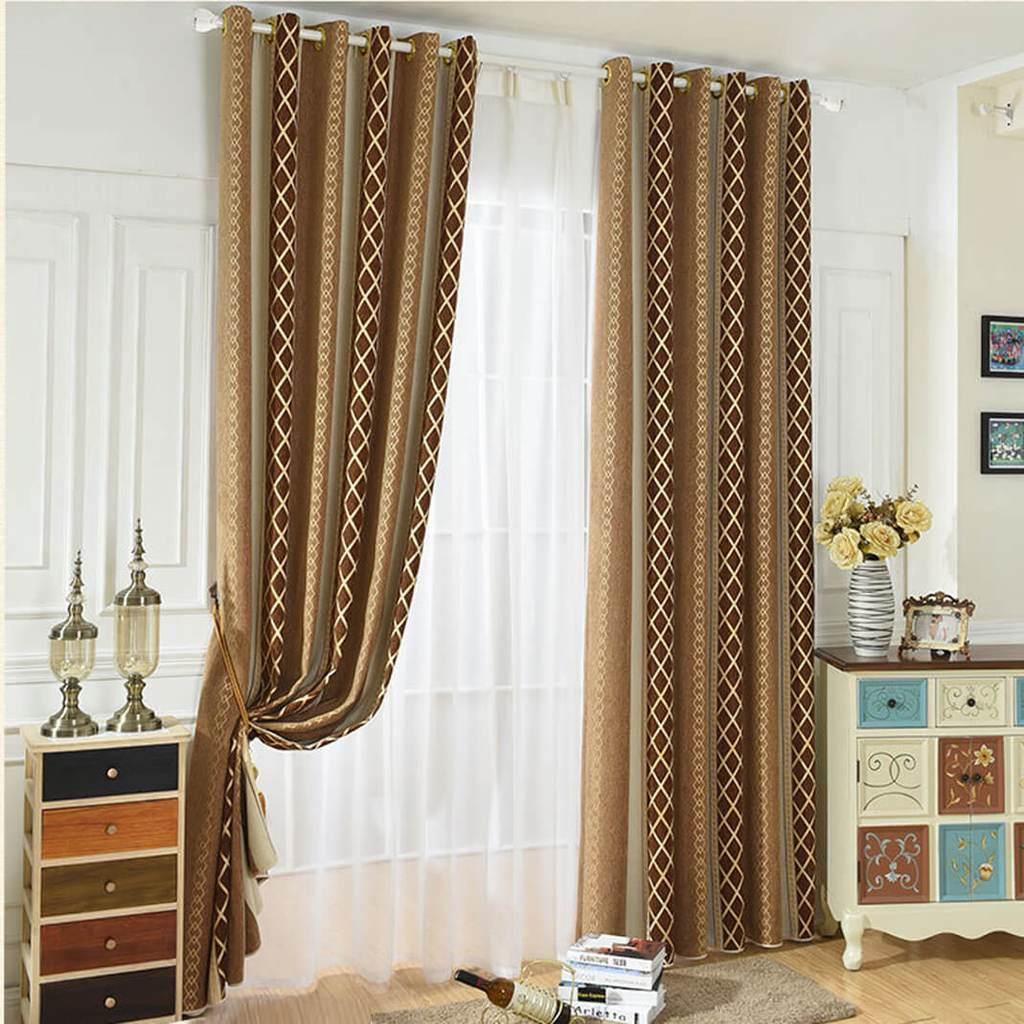 Brown striped chenille blackout curtains eyelet bedroom drapes
