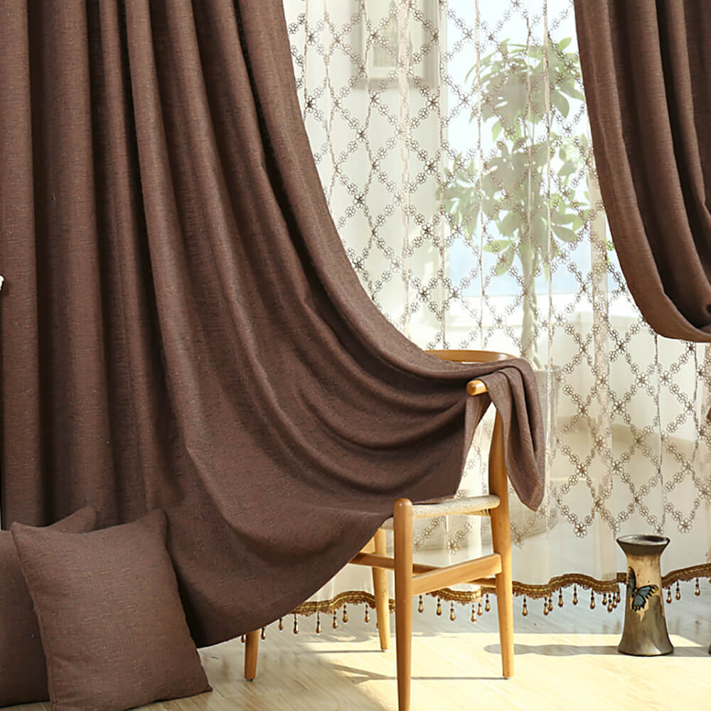 Solid Brown Curtains Grommet Top Drapes for Bedroom Set of 2 Panels - Anady Top Space Design