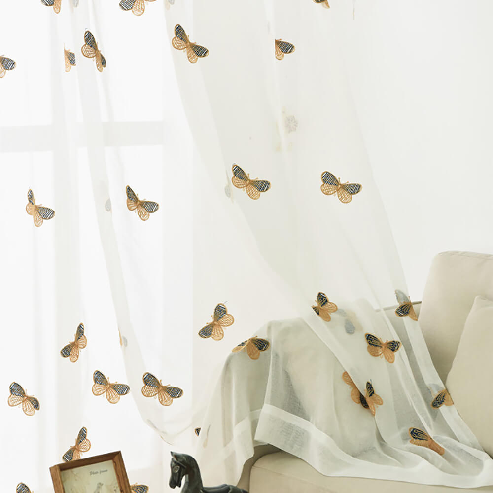 Butterfly Sheer Curtains White Voile Drapes for Bedroom 1 Set of 2 Panels - Anady Top Space Design