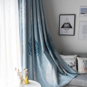 cheap custom blue leaf door window drapes living room curtains for sale