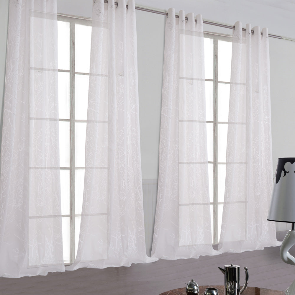 Branch Tree White Sheer Curtains 2 Panels for Bedroom/Living Room