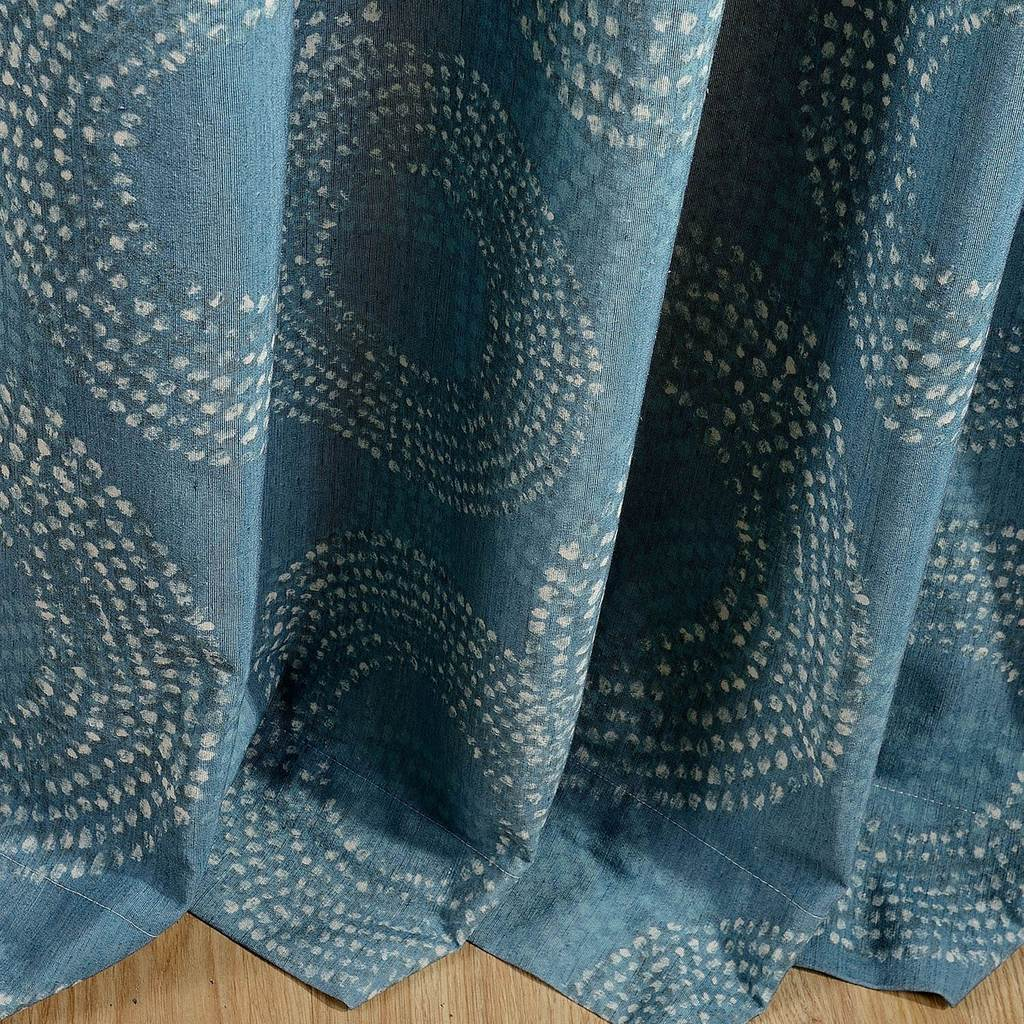 cheap teal blue patterned window curtains thermal ceiling drapes