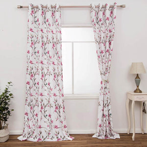 cherry red floral curtains for girls room window drapes