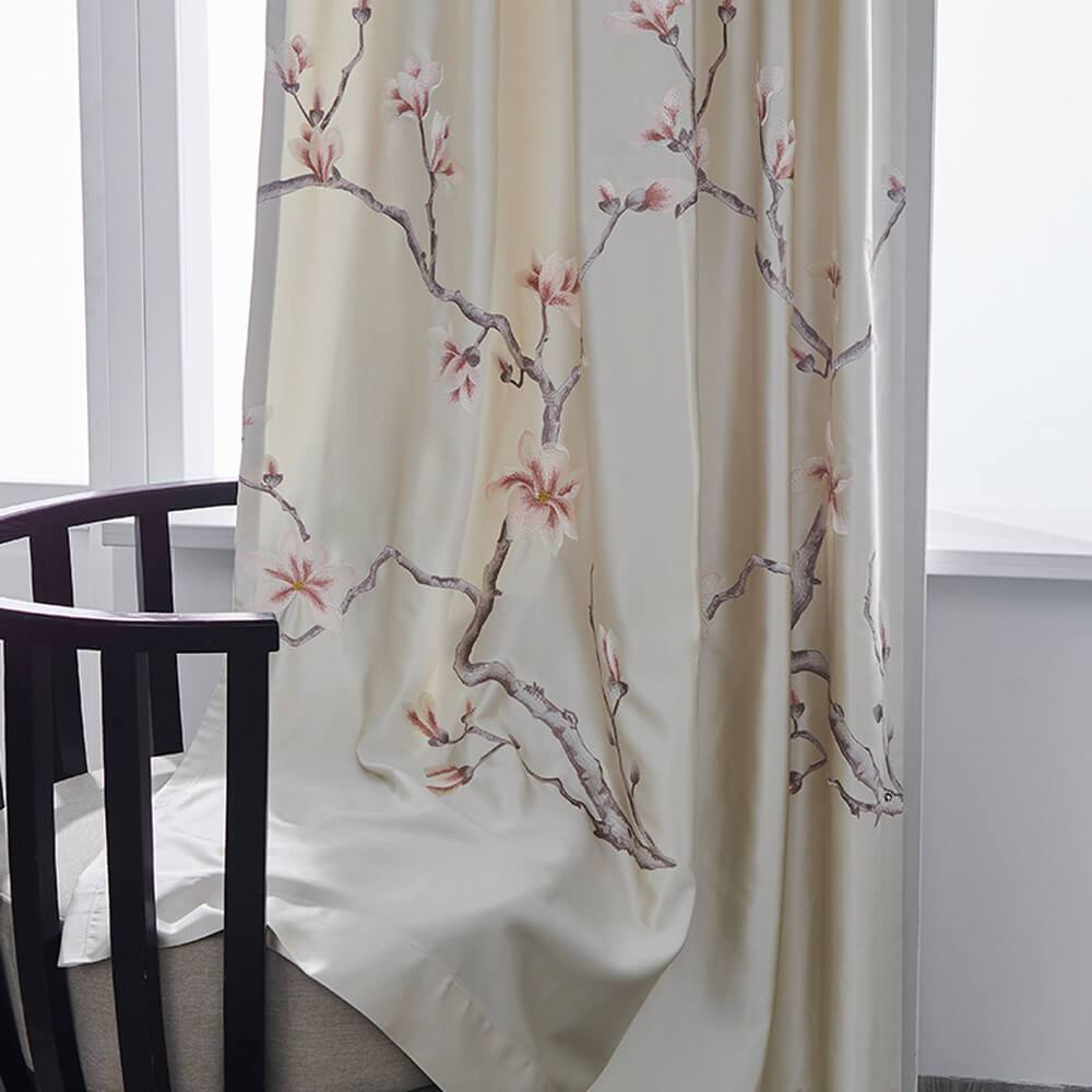 Chic beige magnolia embroidered living room curtains for sale