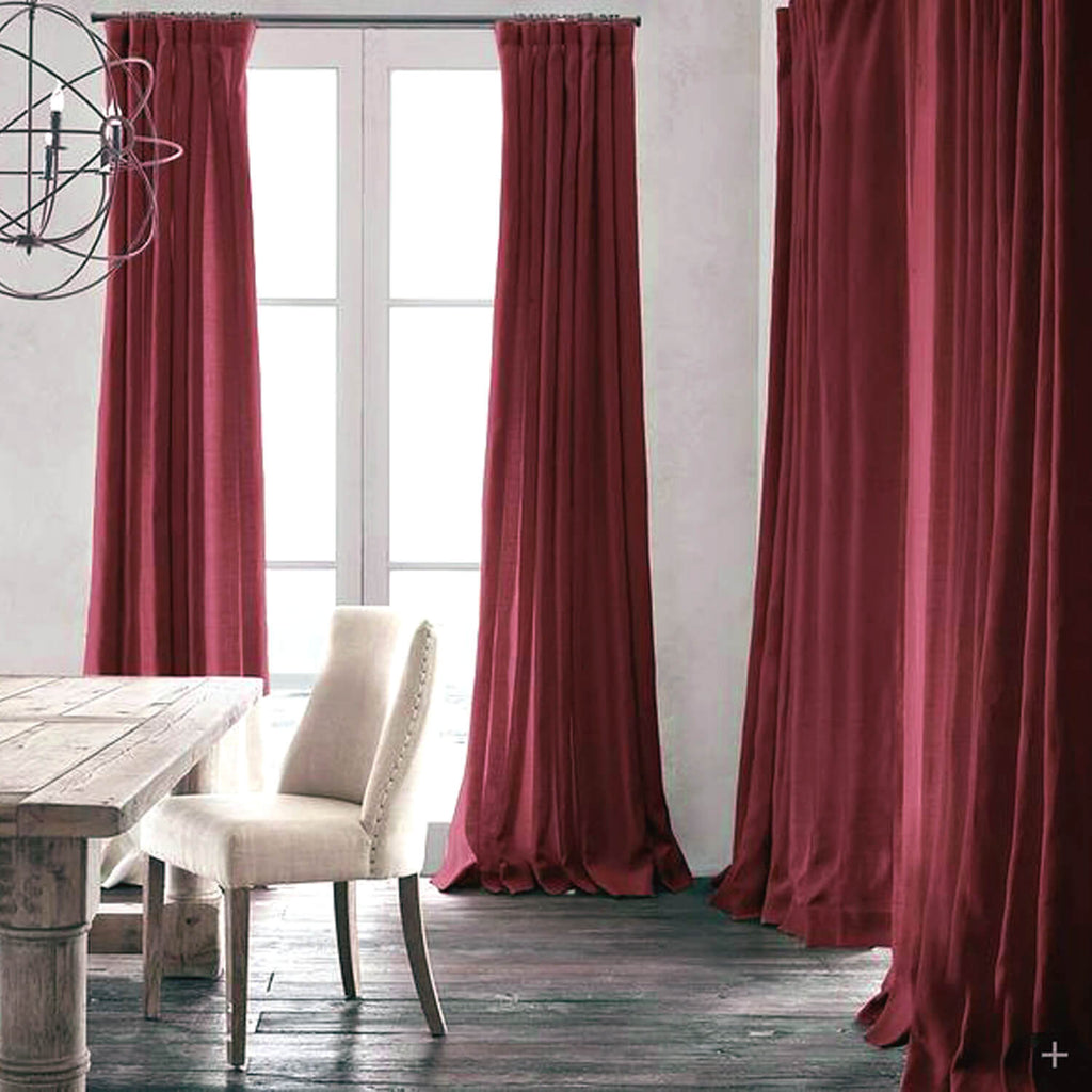 Red Natural Linen Curtains and Drapes 2 Panels for Living Room