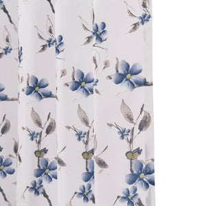 Riverside Blue Flower Curtains White Cotton Linen Living Room Drapes for Sale