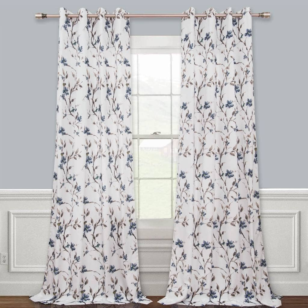 cute blue floral linen drapes white dining room eyelet curtains for sale