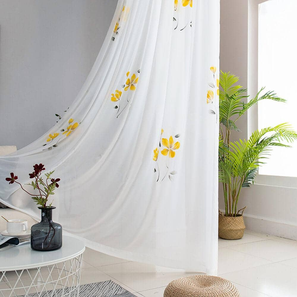 cute yellow flower white voile girls bedroom sheer curtains for sale