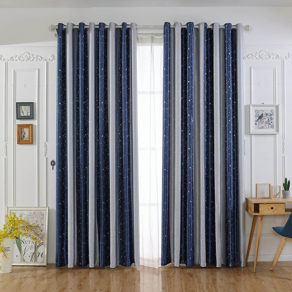 Dark blue light gray striped curtains for living room