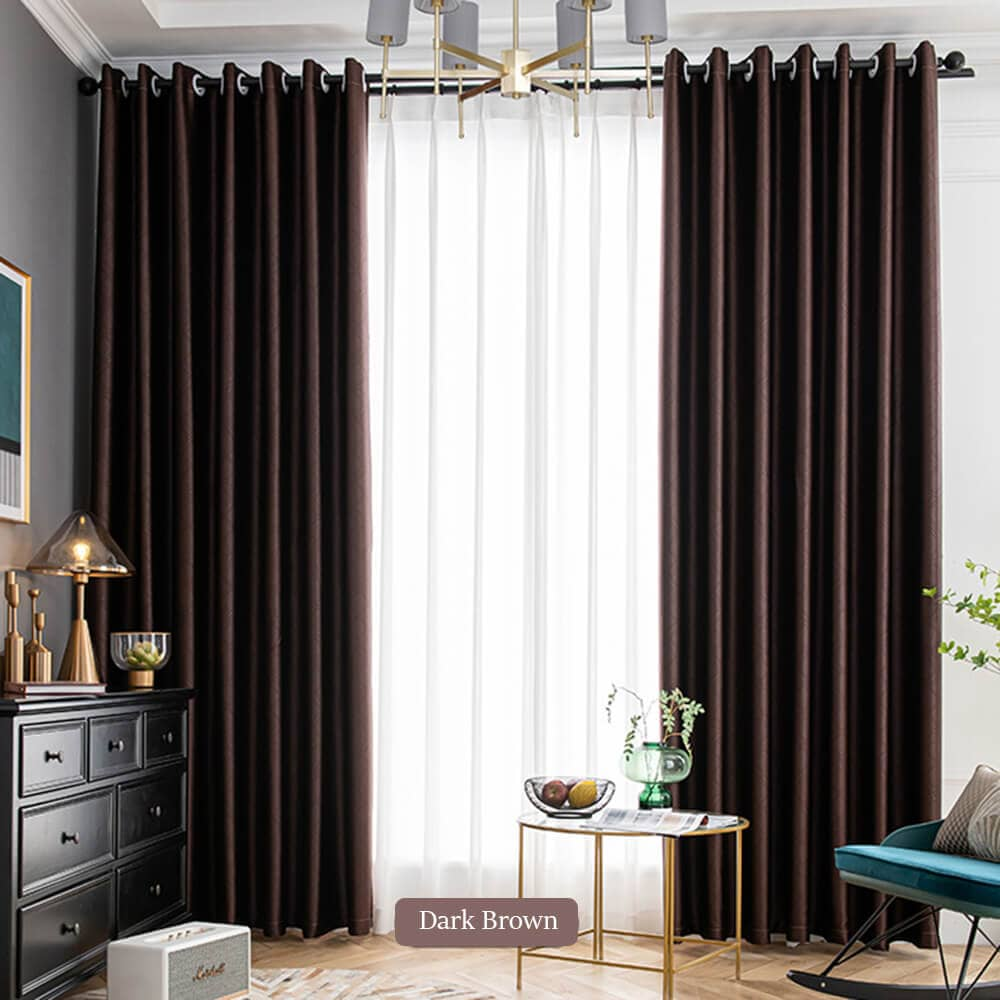dark brown living room divider curtain panels grommet light blocking drapes
