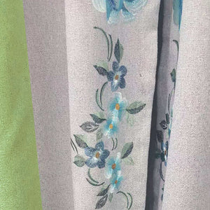 elegant lawn green blue embroidery gray blackout curtains for sale