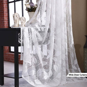 elegant living room lace curtain panels white leaf sheer curtains for sale