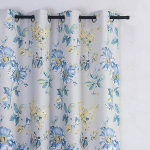 elegant modern blue yellow floral grommet blackout curtains for sale