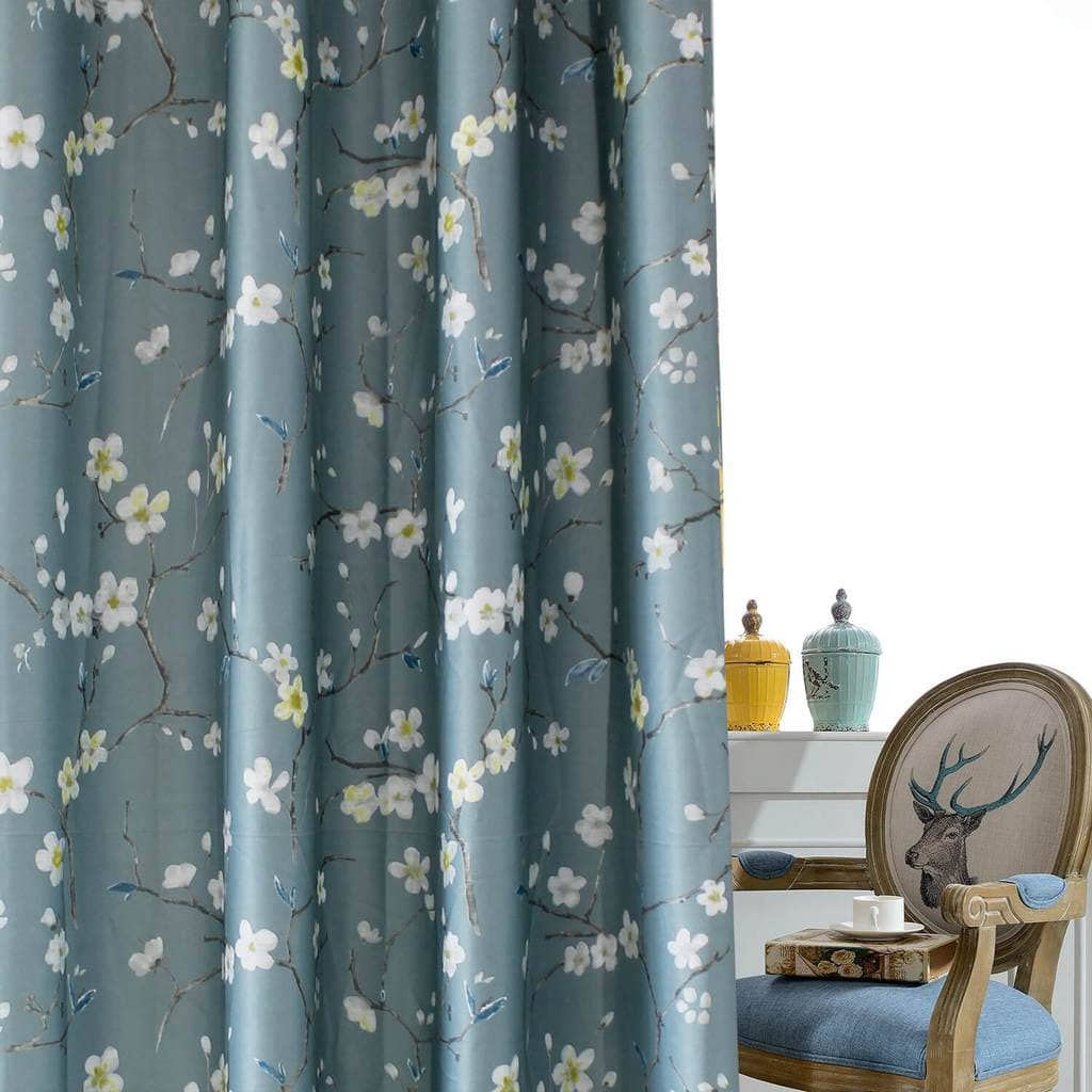 elegant pigeon blue flower bedroom blackout curtains and drapes for sale