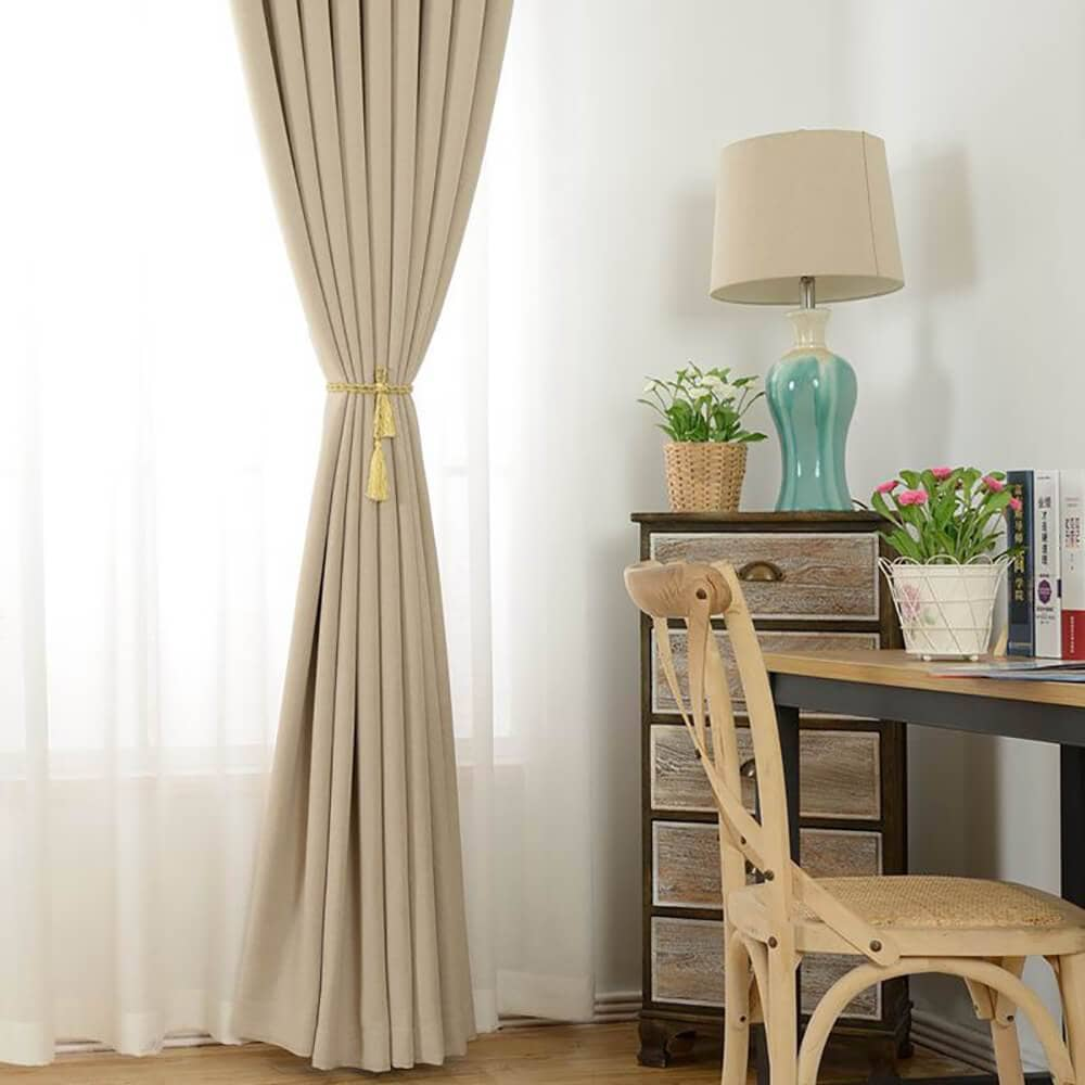 fancy beige dining room soundproof curtains linen tie back ceiling drapes