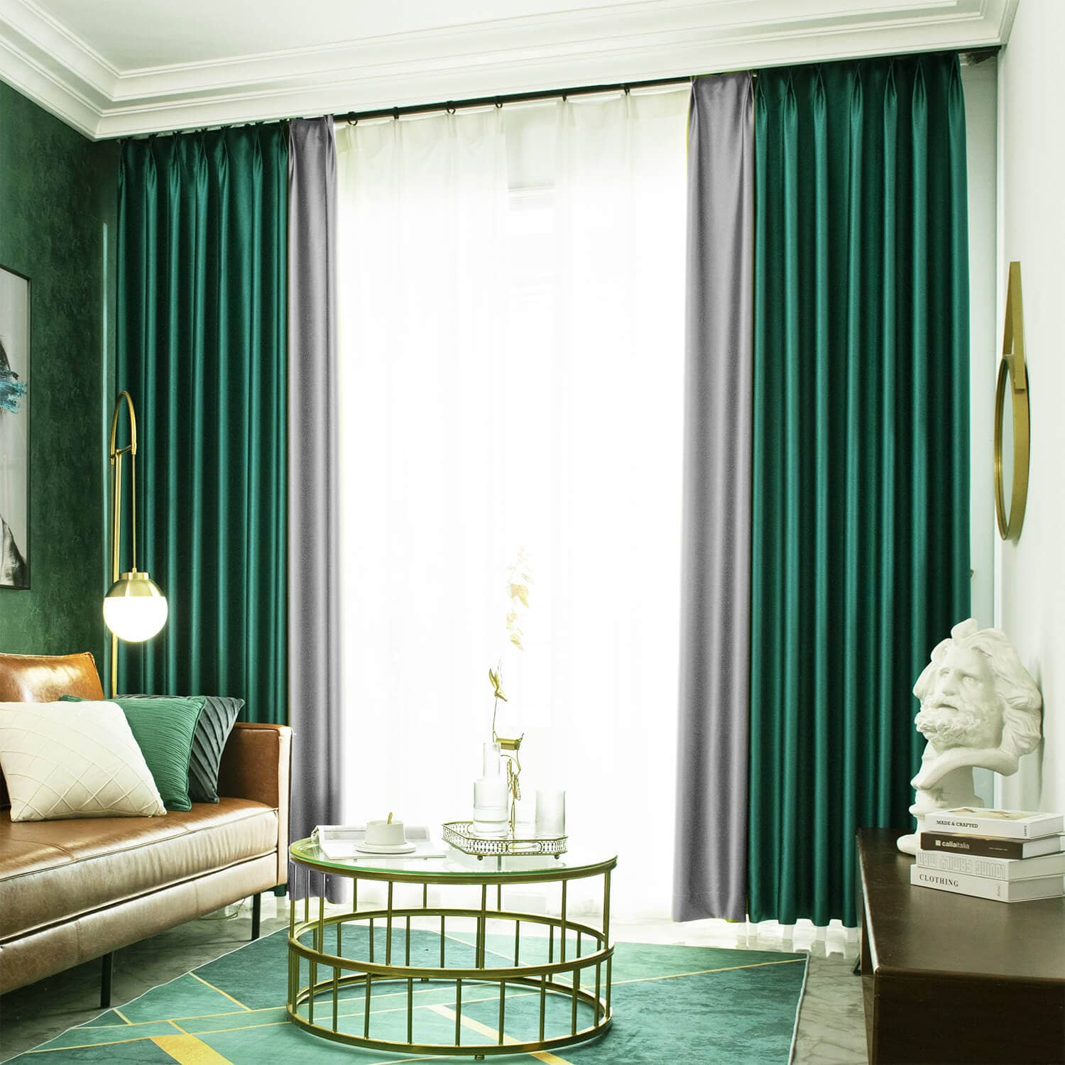 fancy emerald green living room curtains grey stitching pinch pleat drapes 2 panels
