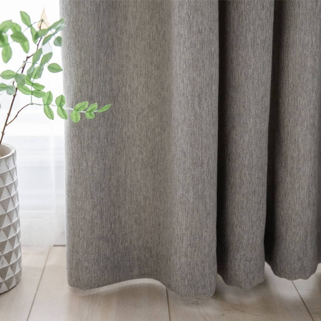 fancy grey cotton linen drapes living room darkening curtains for sale