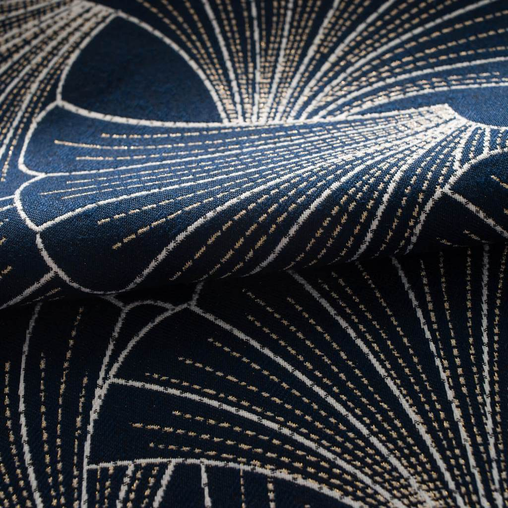 Fancy navy blue leaf patterned jacquard curtains custom drapes on sale