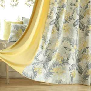 fancy yellow and gray curtains girls privacy acoustic light blocking drapes