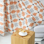 Flame Orange Curtains Linen Bright Modern Geometry Drapes 2 Panels