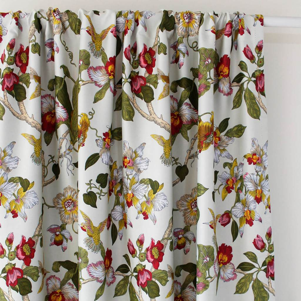 Red Flower Blackout Curtains Birds Drapes For Bedroom 1