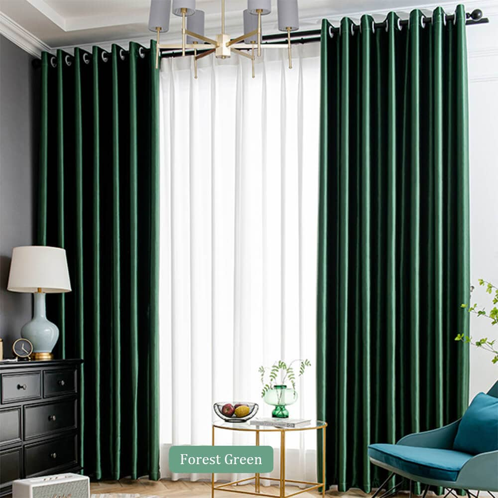 forest green living room darkening curtains grommet ceiling drapes for sale