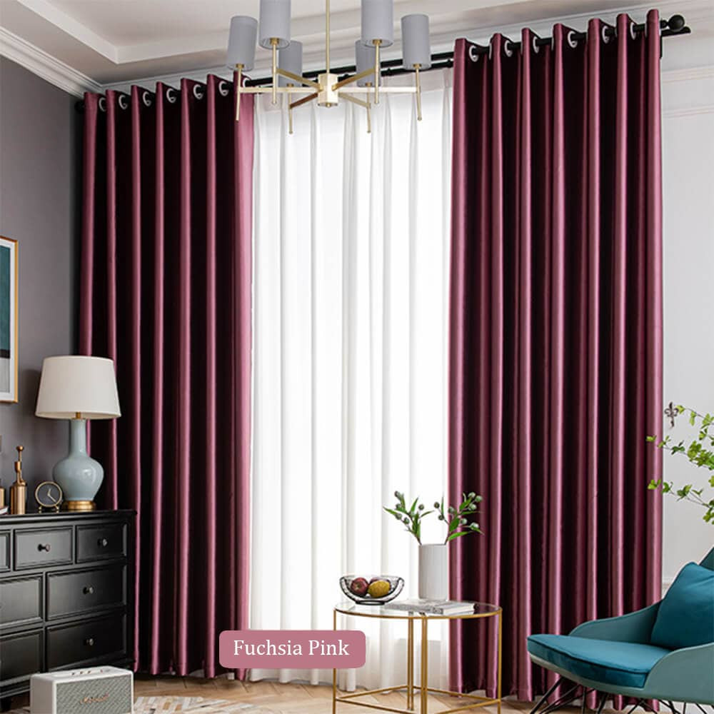 fuchsia pink living room divider curtain panels grommet light blocking drapes