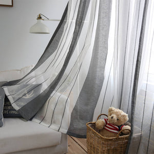 Anady Top Grey Striped Sheer Curtains for Living Room 2 Panels - Anady Top Space Design