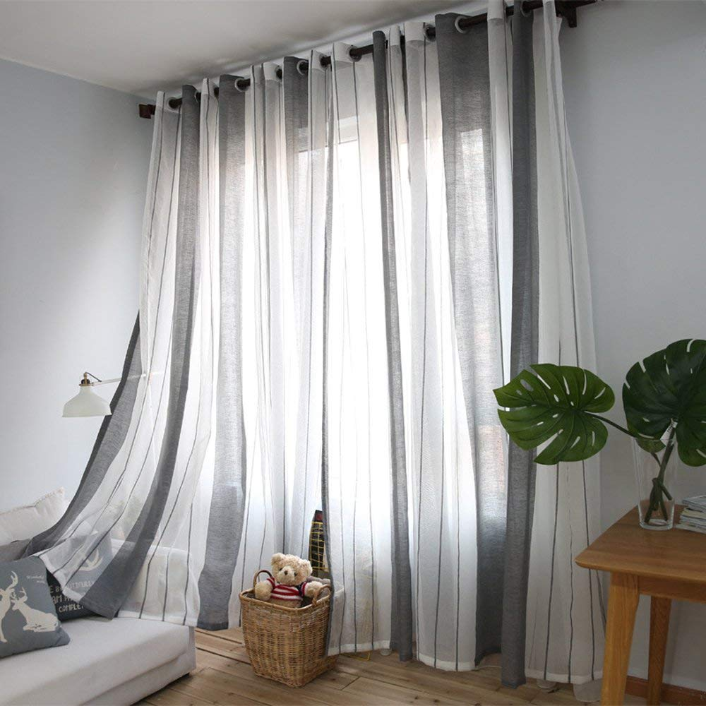 Gray and white vertical striped sheer curtains for bedroom