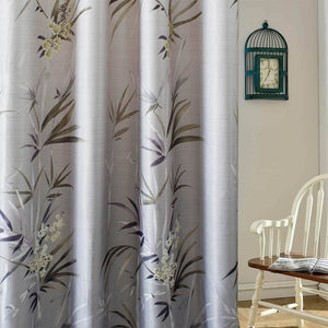 gray bamboo leaf drapes bedroom blackout curtains for sale