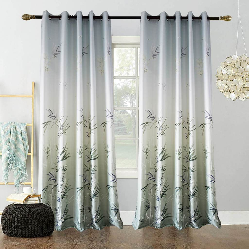 gray bamboo print window curtains living room drapes for sale - anady top