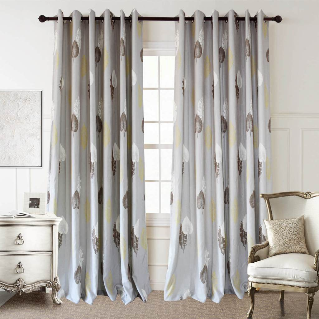 Brown White Yellow Leaf Curtains Gray Drapes For Living Room Bedroom Anady Top