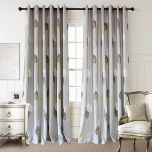 Gray custom drapes brown leaf bedroom blackout curtains for sale