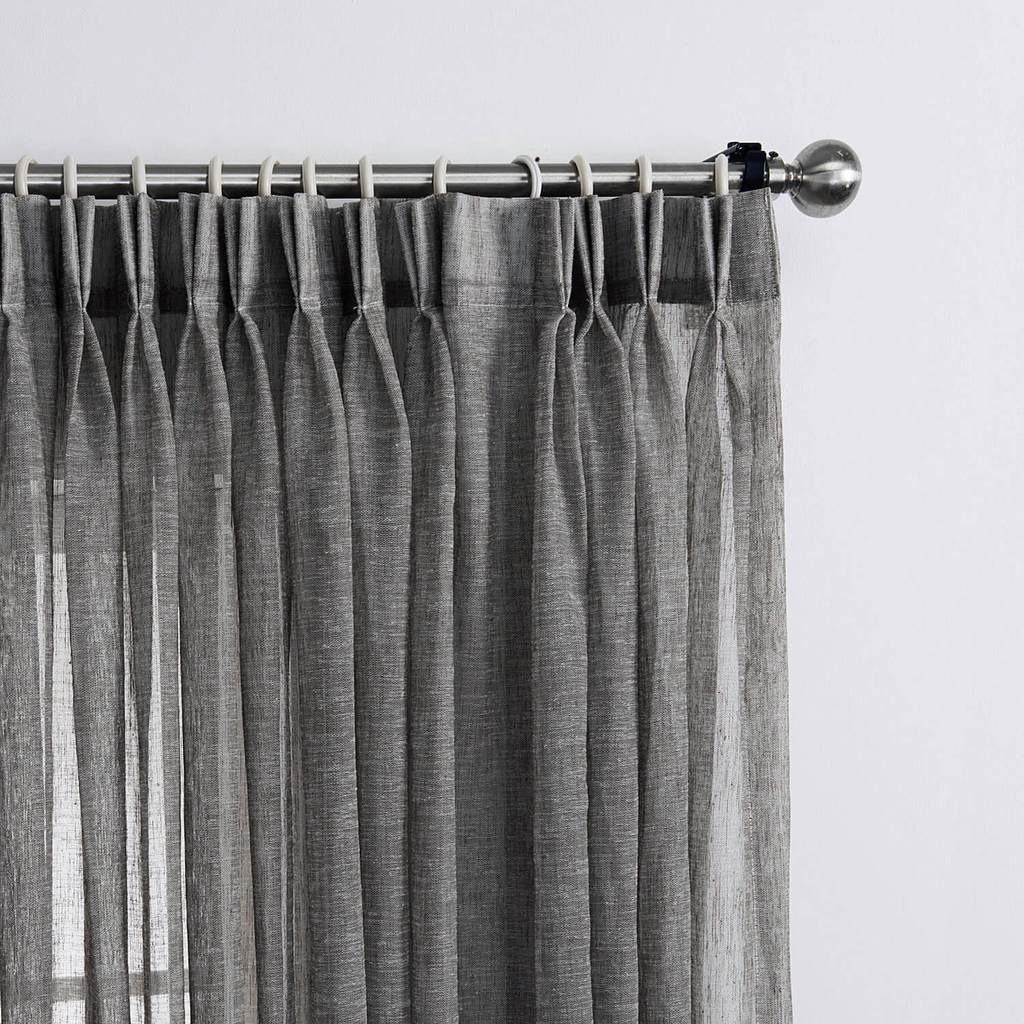 Gray pinch pleat sheer curtains bedroom window sheers on sale