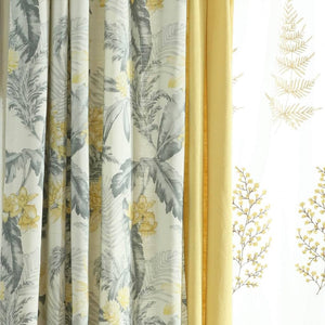 gray plant and yellow kitchen curtains grommet darkening door window drapes
