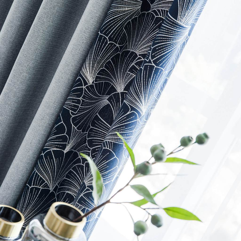 Gray window drapes navy blue thermal living room curtains for sale