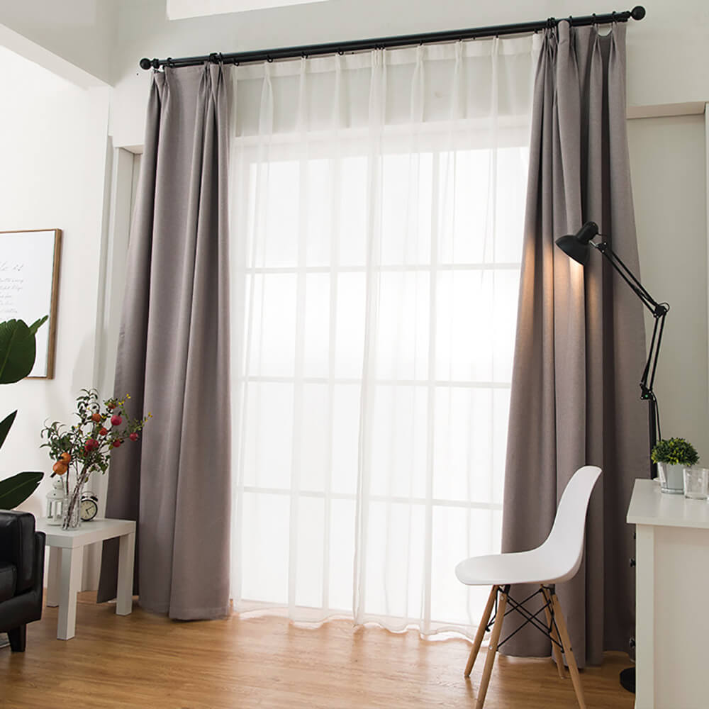Blackout Linen Curtains Drapes for Bedroom 2 Panels(Brown/Beige/Grey/Navy) - Anady Top Space Design
