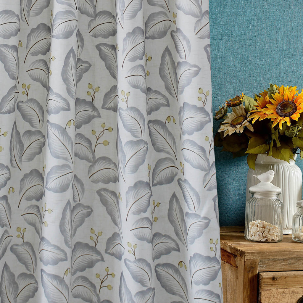 Anady Top Gray Leaves White Curtains Cotton Drapes for Living Room - Anady Top Space Design