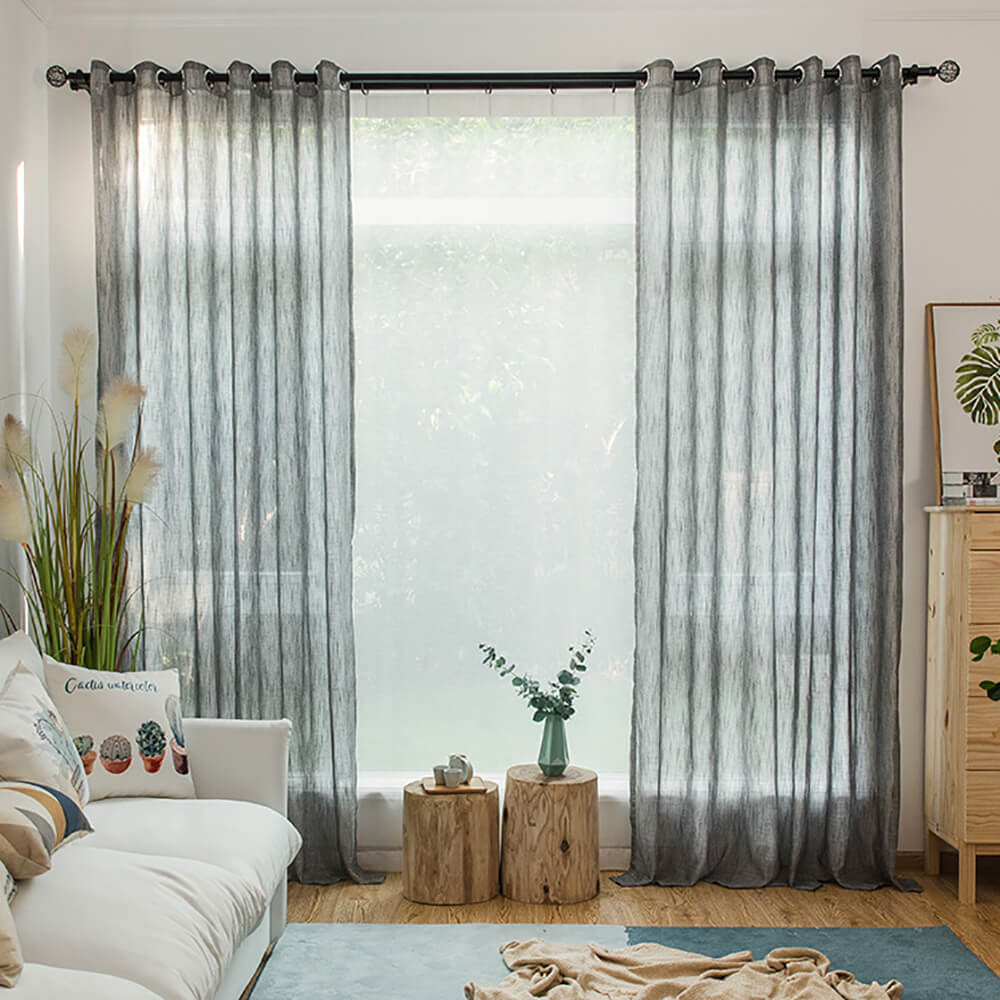 Anady Top Gray Linen Sheer Curtains for Living Room 2 Panels - Anady Top Space Design