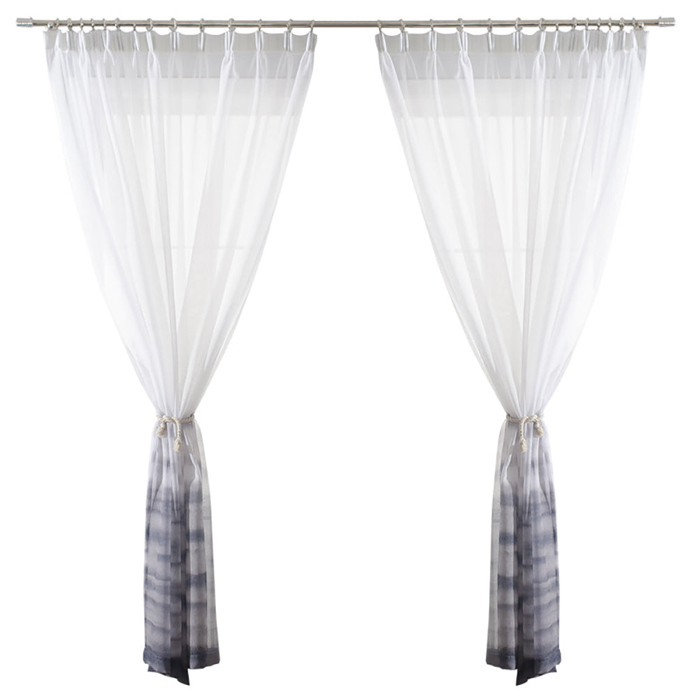 Grey/Gray Gradient Sheer Curtains White Voile Drapes for Bedroom 1 Set of 2 Panels - Anady Top Space Design