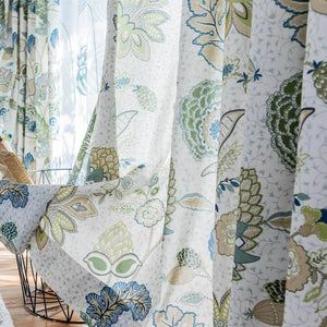 Green leaf blue flower drapes outdoor curtains for sale
