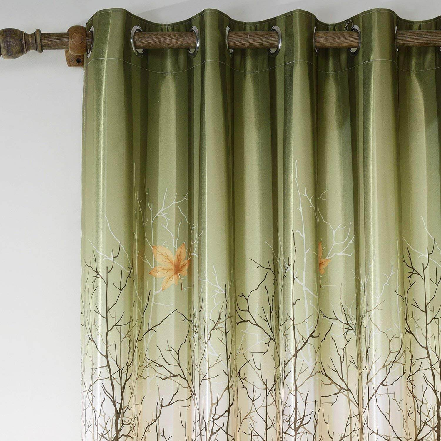 Green/Orange Maple Leaf Tree Curtains and Drapes for Living Room Set of 2 Panels - Anady Top Space Design