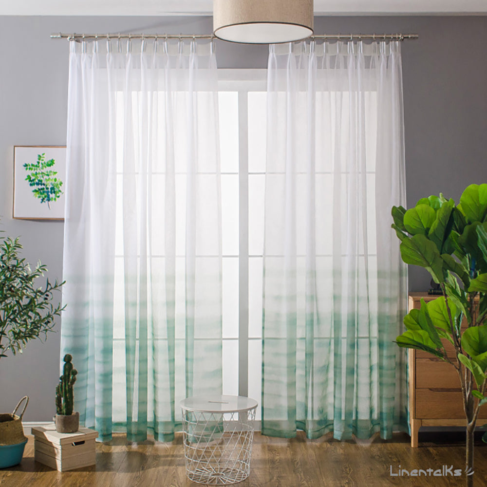 Green Gradient Sheer Curtains White Voile Drapes for Bedroom 1 Set of 2 Panels - Anady Top Space Design