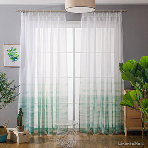5c299a50d243 Green Gradient Sheer Curtains White Voile Drapes for Bedroom 1 Set of 2  Panels - Anady